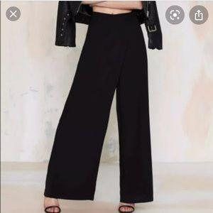 EUC Renamed Black Wrap Front Wide Leg Trouser